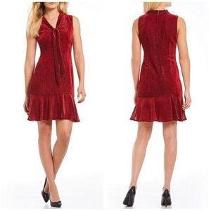 NWT Karl Lagerfeld Paris red velvet tie dress